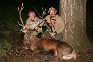 Ernie and Hamish with Ernie's 13pt trophy Red Stag